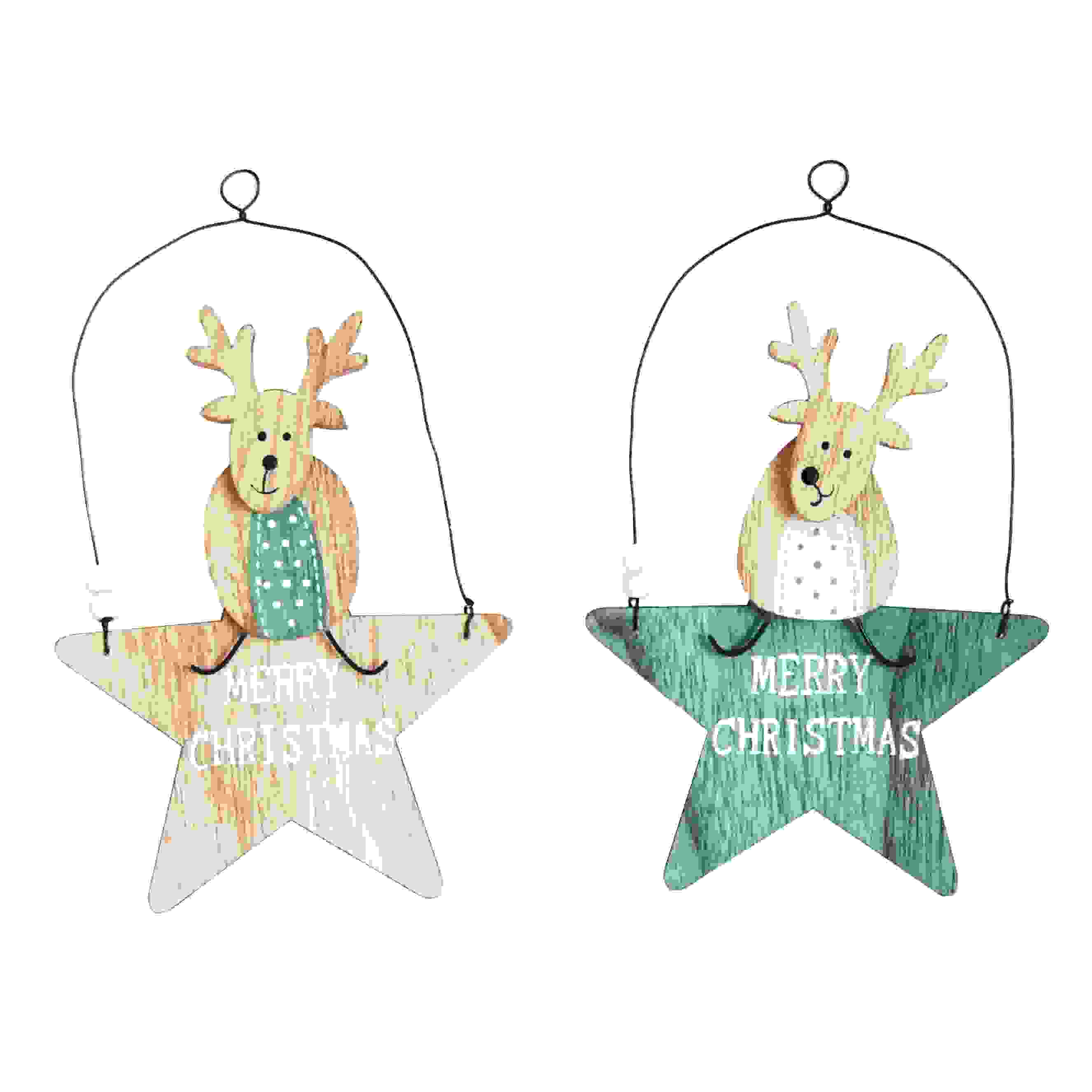 HANG. ASS WOODEN STAR HANGER w/DEERS