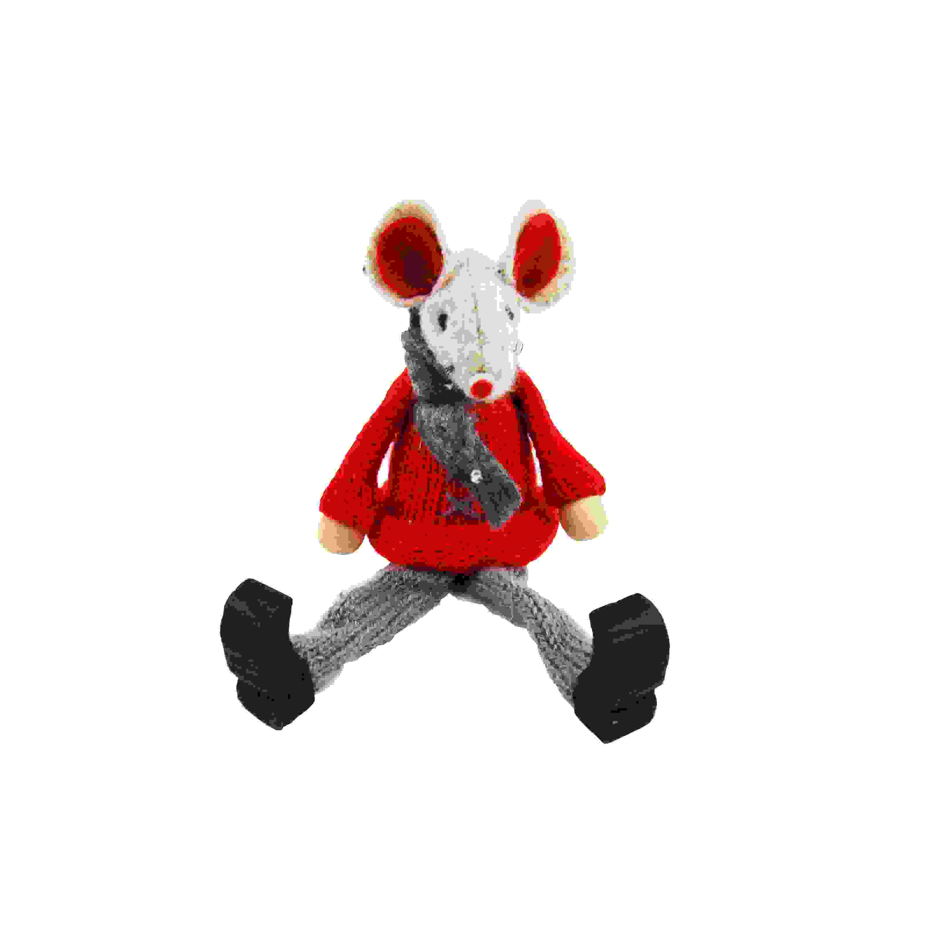SITTING MOUSE 12cm RED
