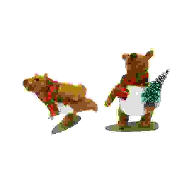 STANDING ASS. FESTIVE BEARS ON SNOW BOARDS