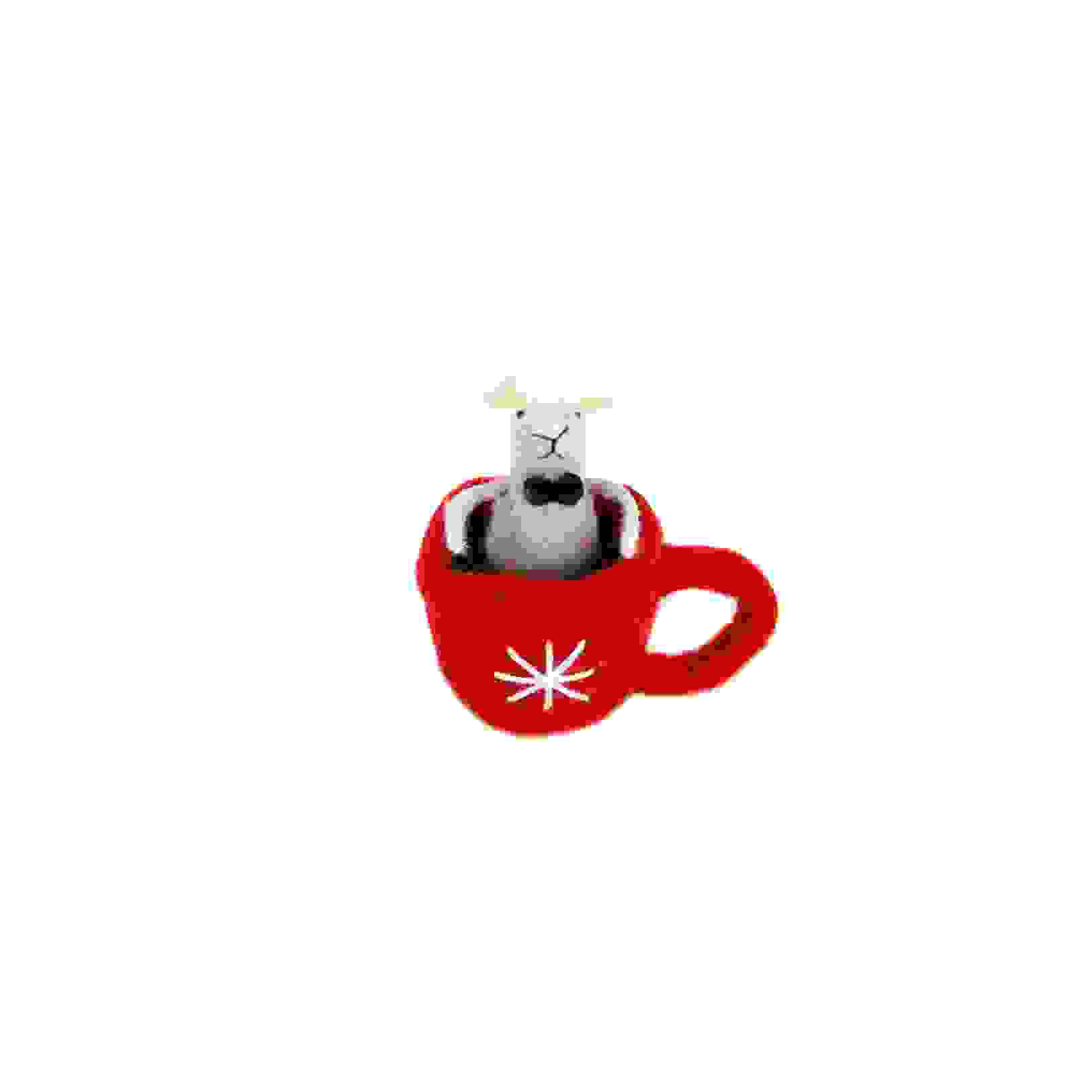 STANDING RED TEA CUP w/SMART MOUSE