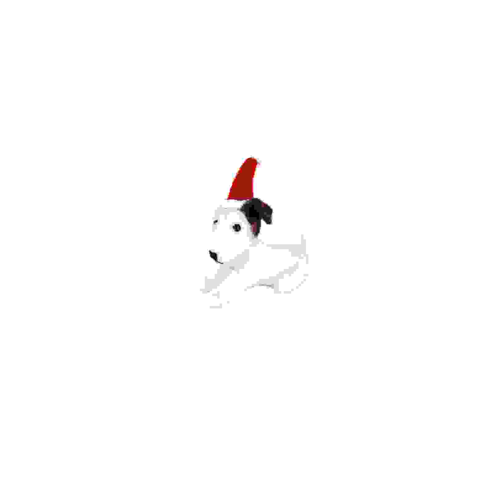 SITTING PUPPY DOG w/SANTA HAT