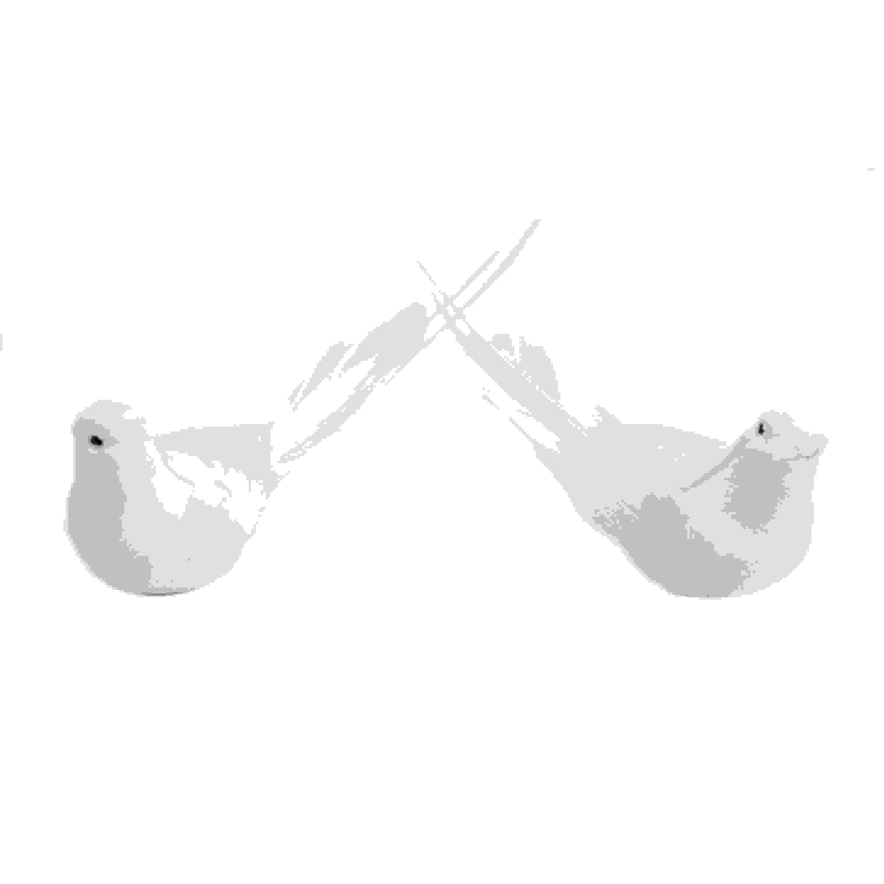 BIRDS W/CLIP WHITE PAIR DOVES 13cm