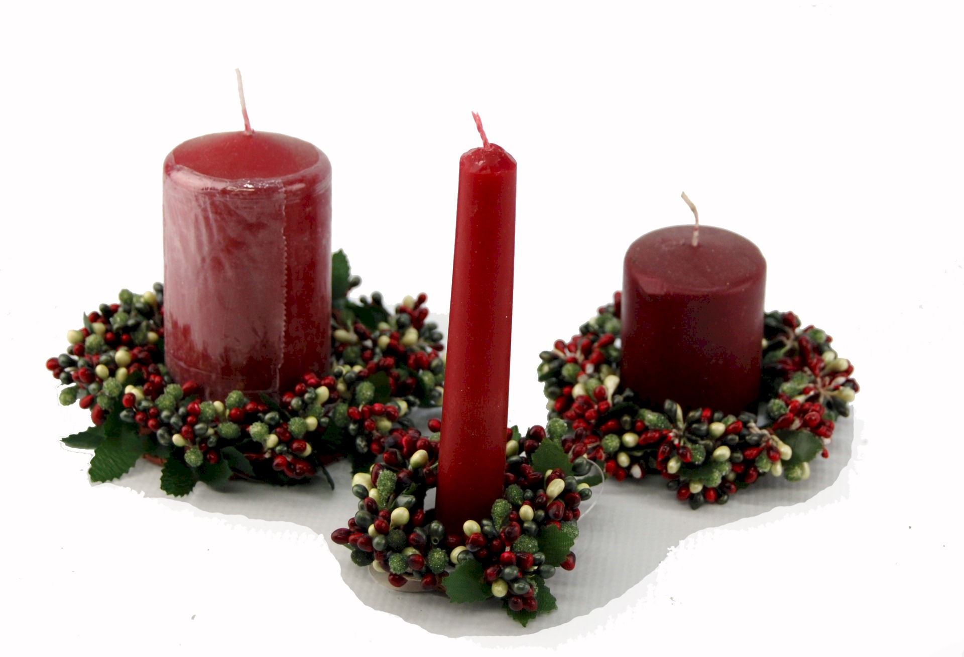 CANDLE RING RED/LIME/FROST 3.5cm