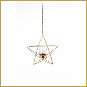 HANGING GOLD METAL STAR T-LITE HOLDER