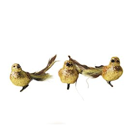 BIRD W/CLIP GOLD GLITTER TAIL 16cm