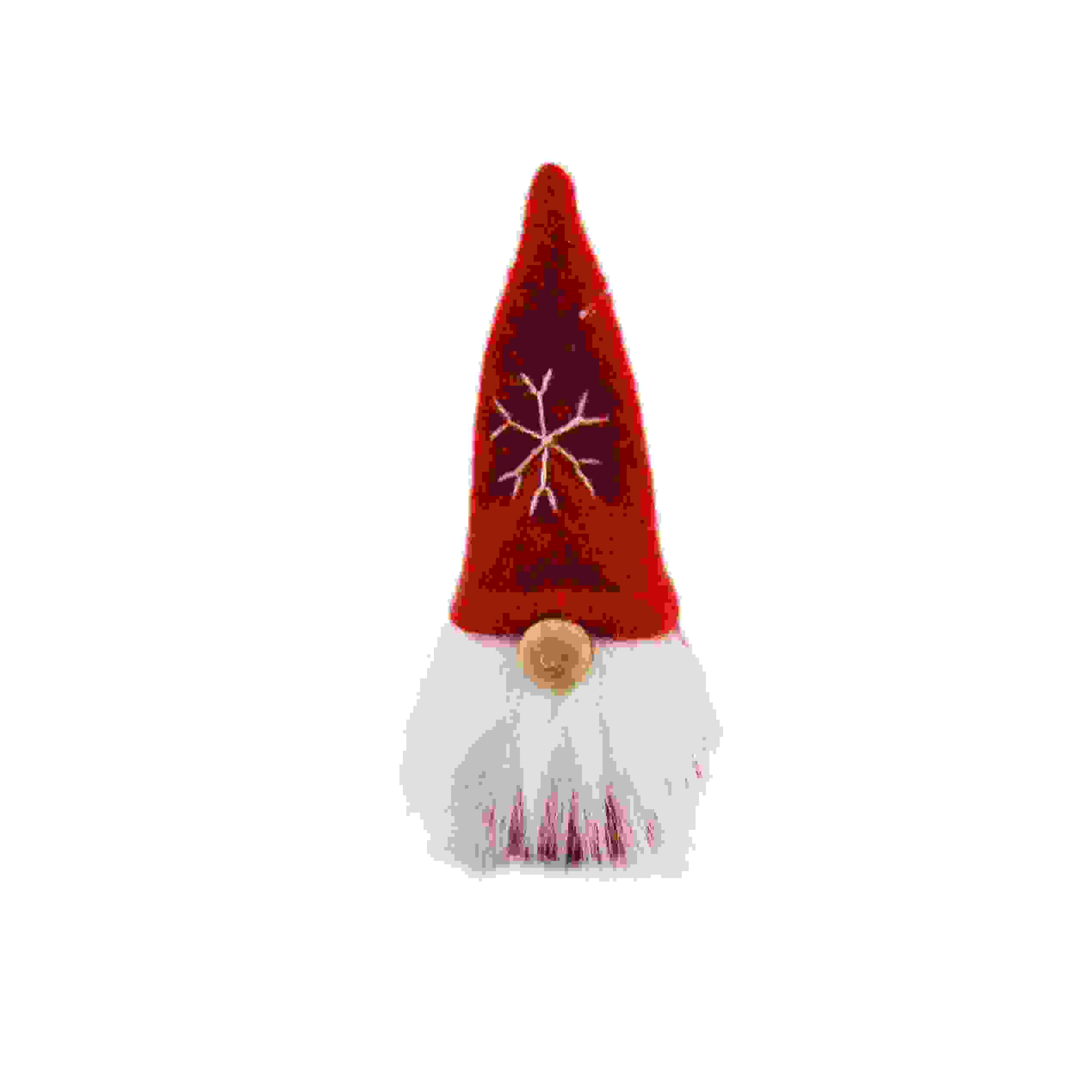 SANTA FABRIC 8cm SNOWFLAKE HAT RED