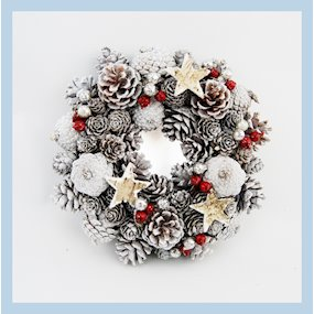 WREATH ROUND 26cm WHITEWASH