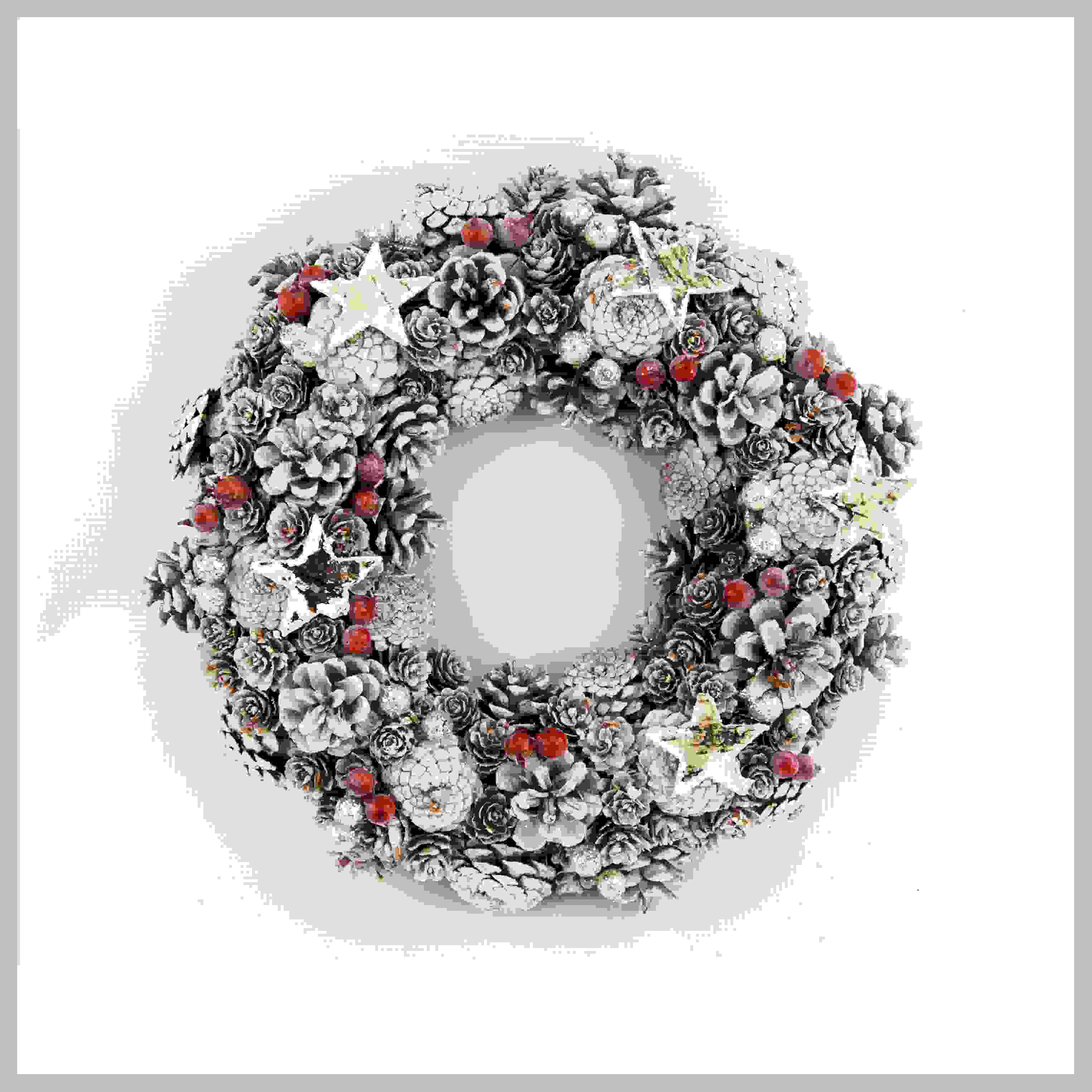 WREATH ROUND 35CM WHITEWASH