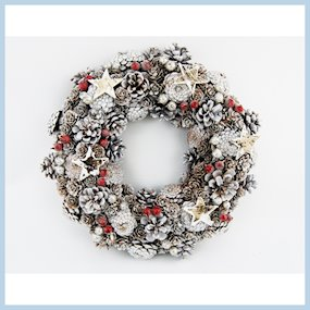 WREATH 35cm WHITEWASH