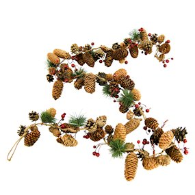 GARLAND MIXED CONE/RED BERRIES/FIR 150cm
