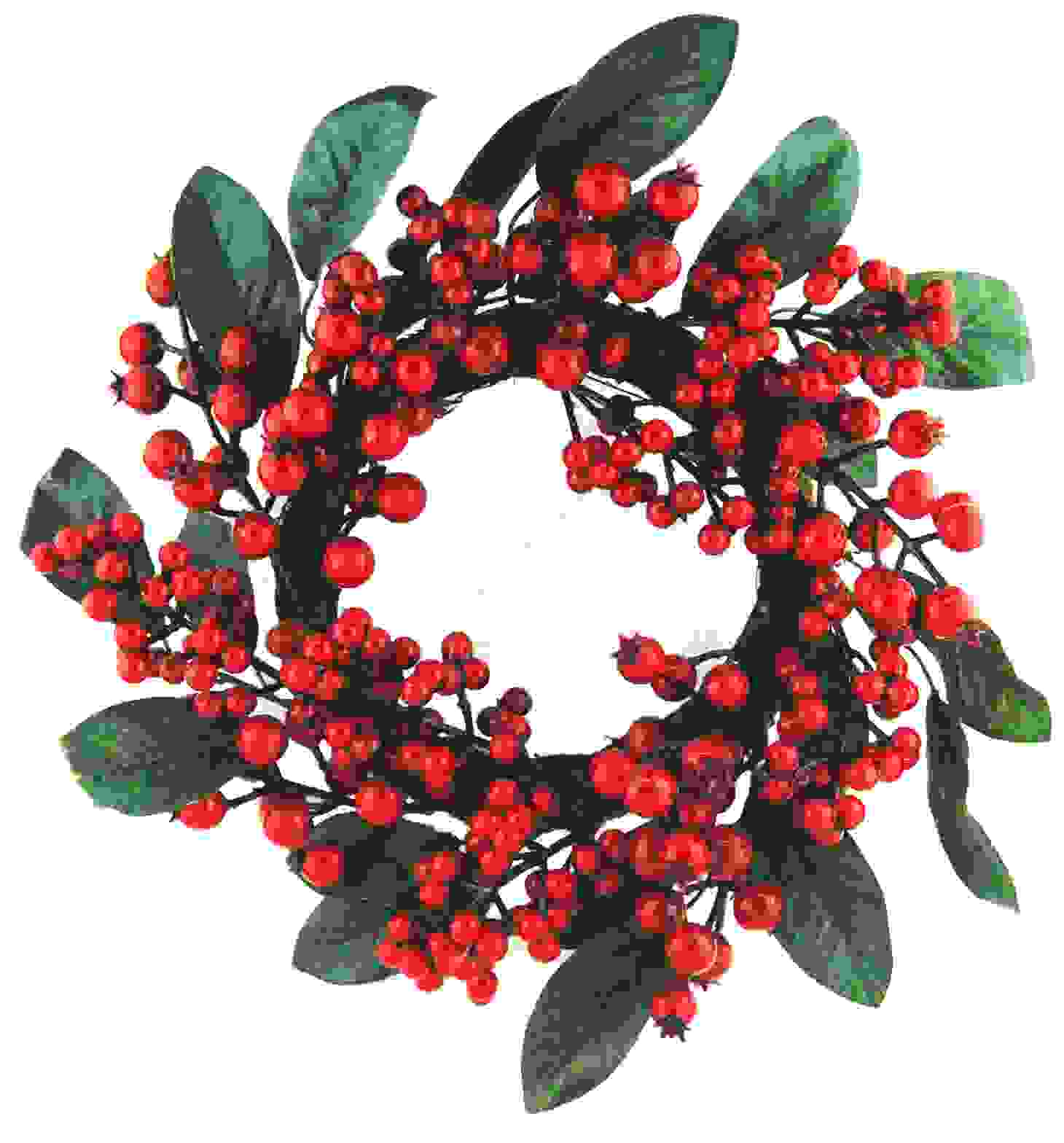 WREATH LAUREL/RED BERRY 40 cm