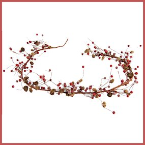 GARLAND FROSTED RED BERRY/CONE 159cm