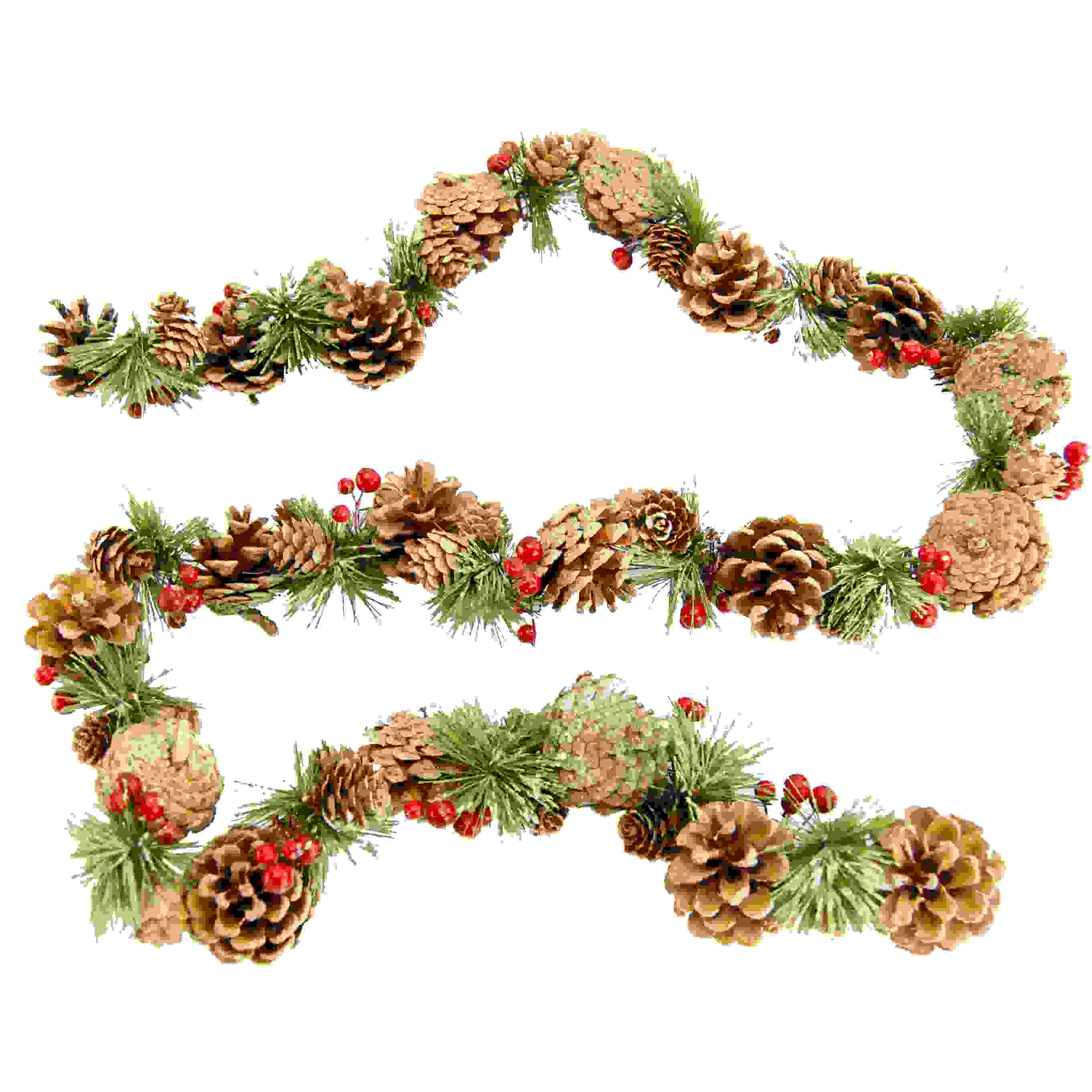GARLAND 160cm PINECONE RED BERRIES