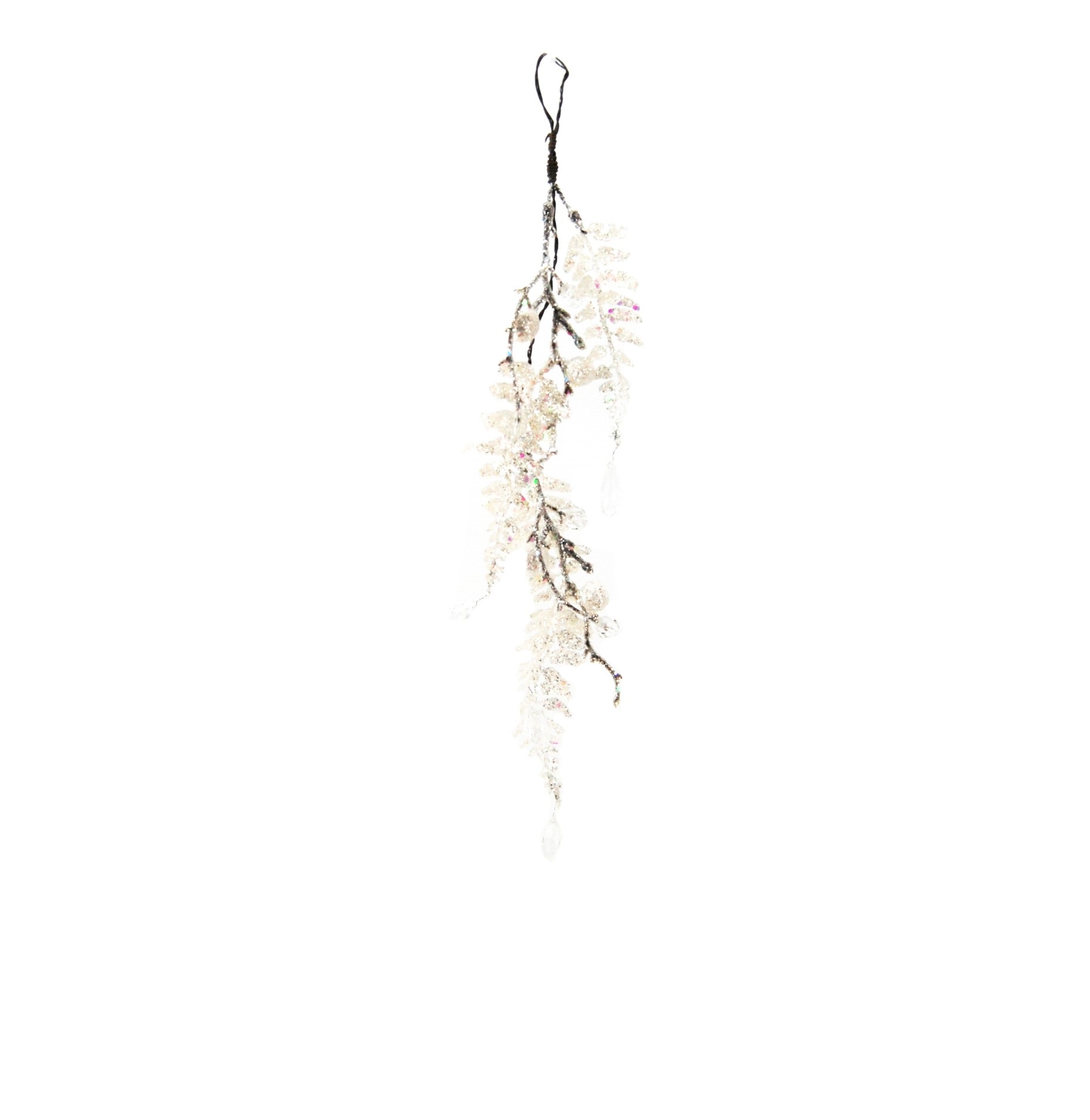 CRYSTAL DROP 37cm GLITTER PALM LEAF