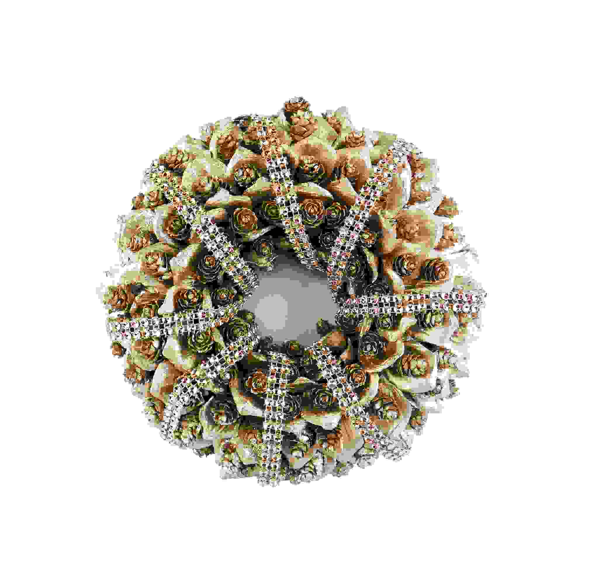 WREATH 25cm PINECONE CHAM. GOLD