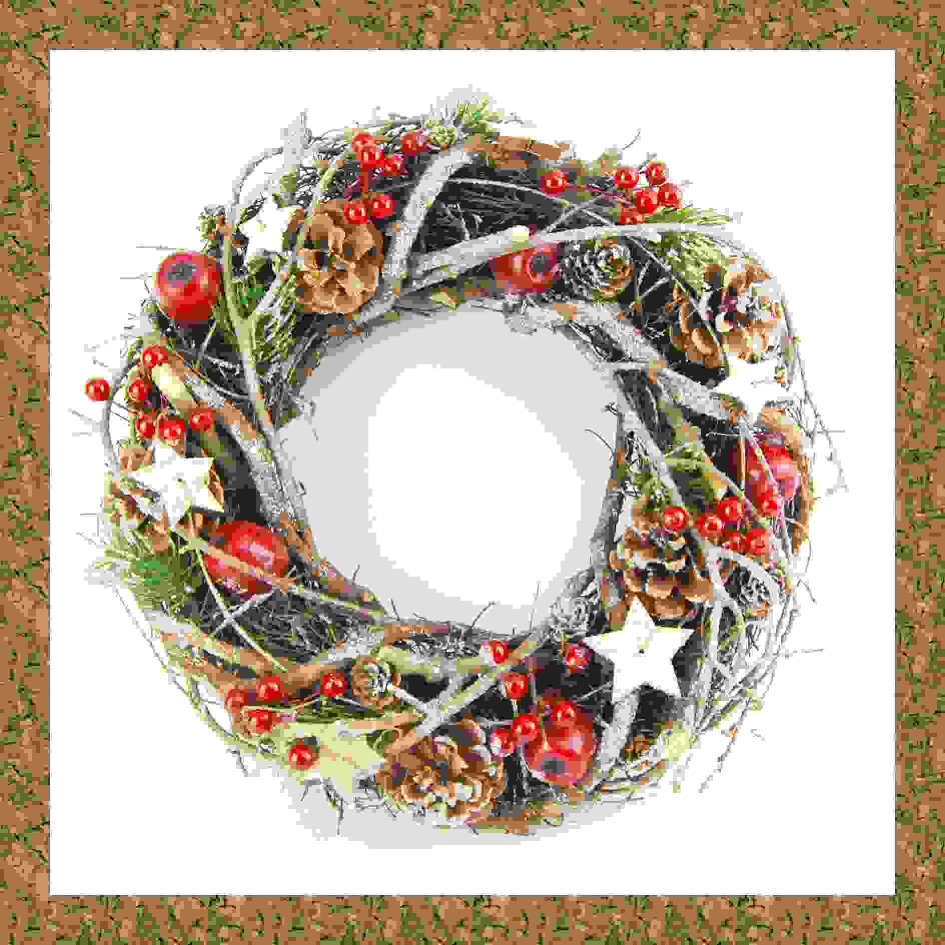 WREATH TWIG/CONE/BERRY/STAR