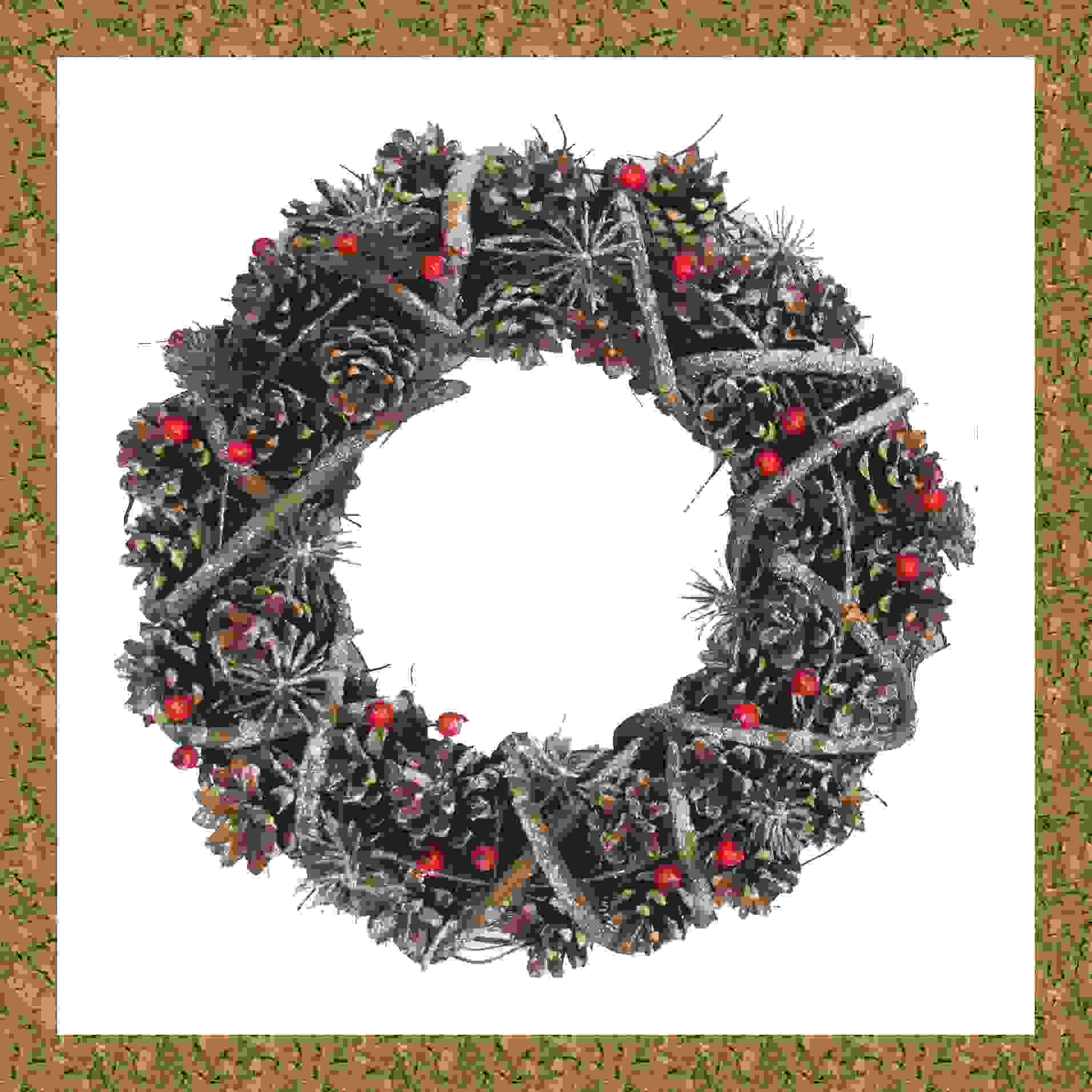 WREATH 34cm NATURAL PINECONE