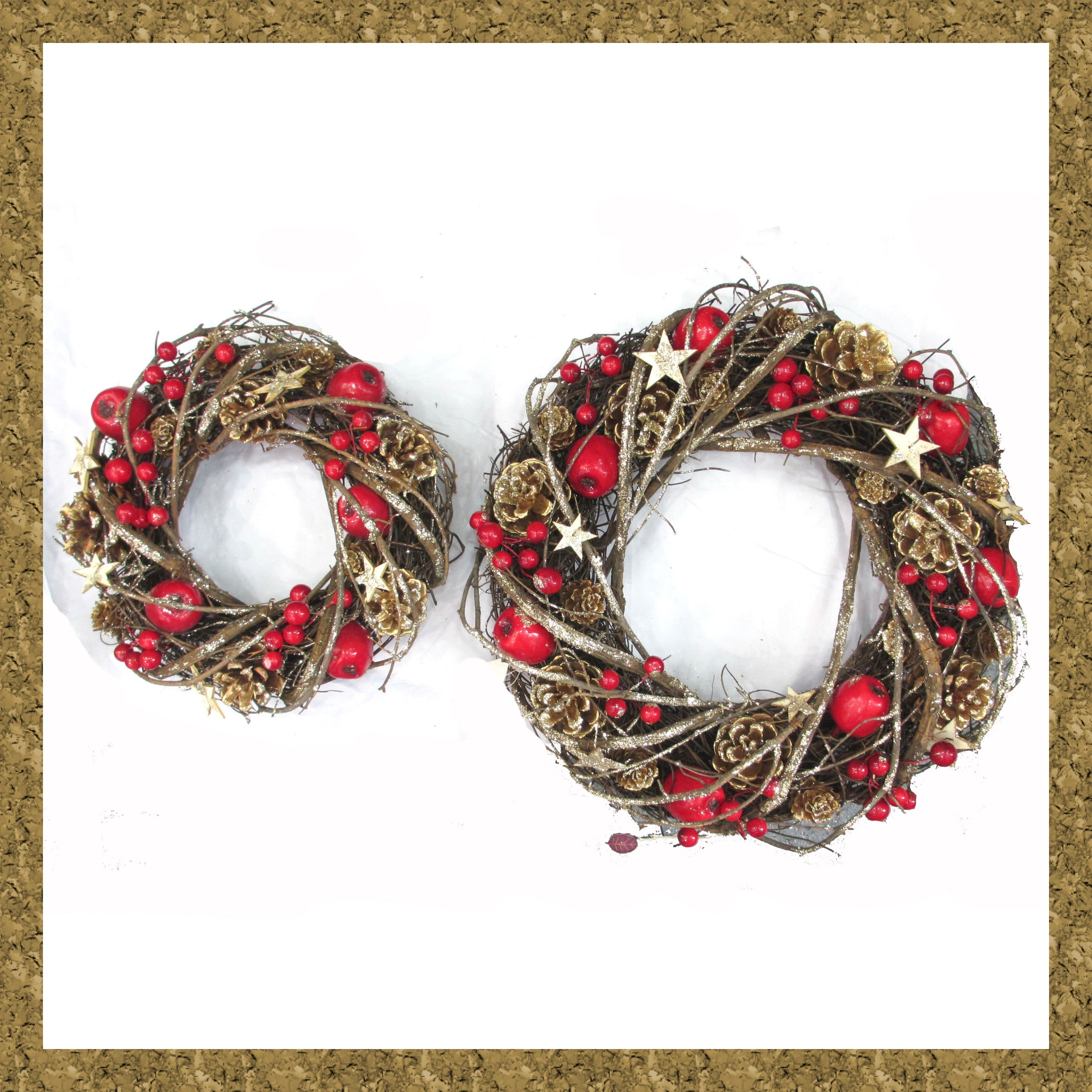 WREATH 33cm NATURAL/RED