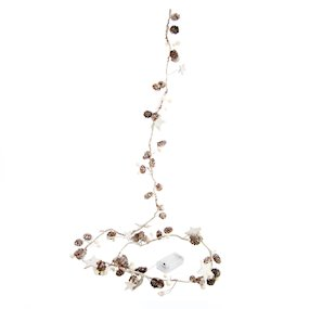 GARLAND PINECONE/STAR W/LED LIGHTS 200cm