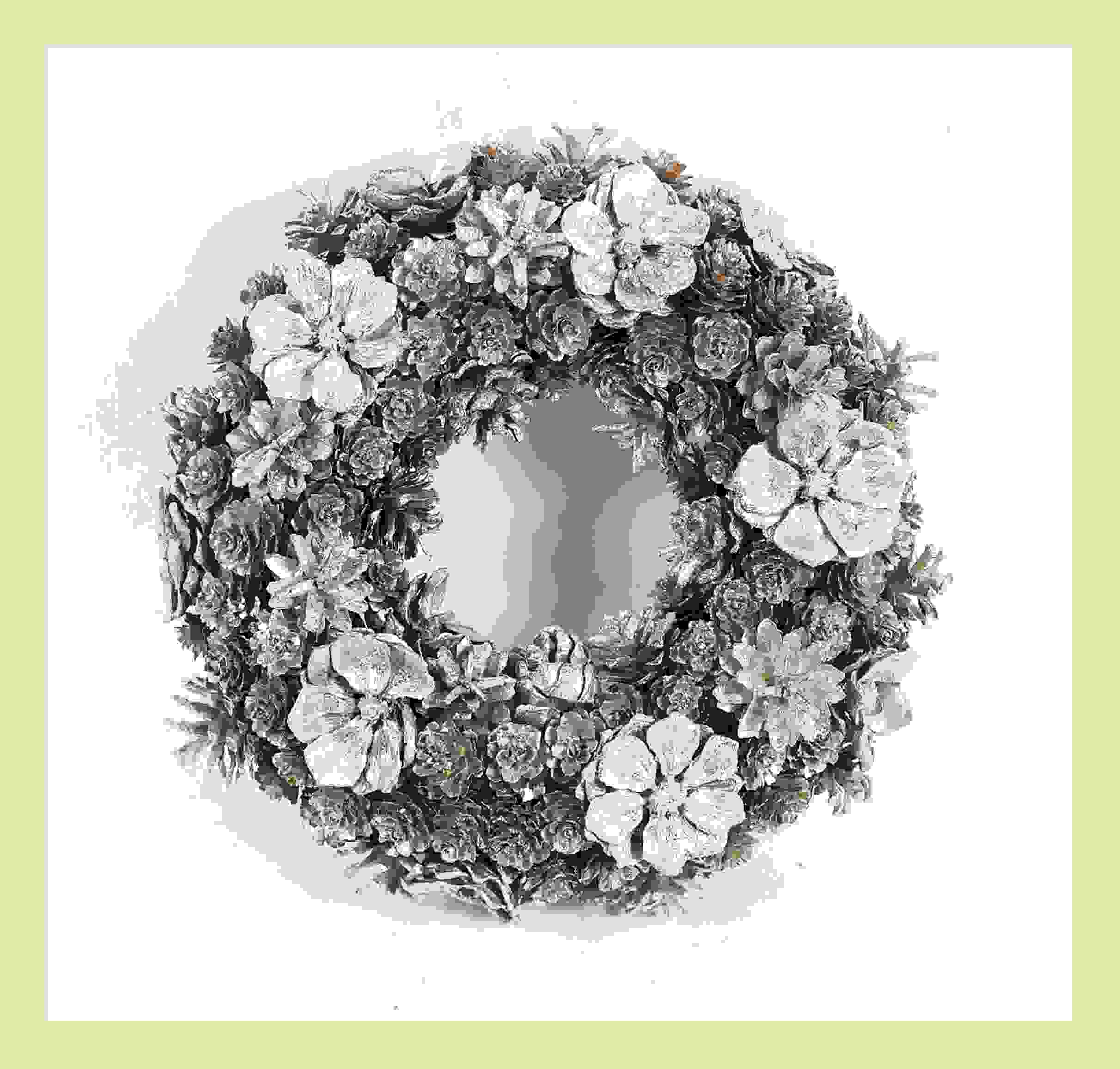 Wreath Cone Flowers & Pinecones 34cm