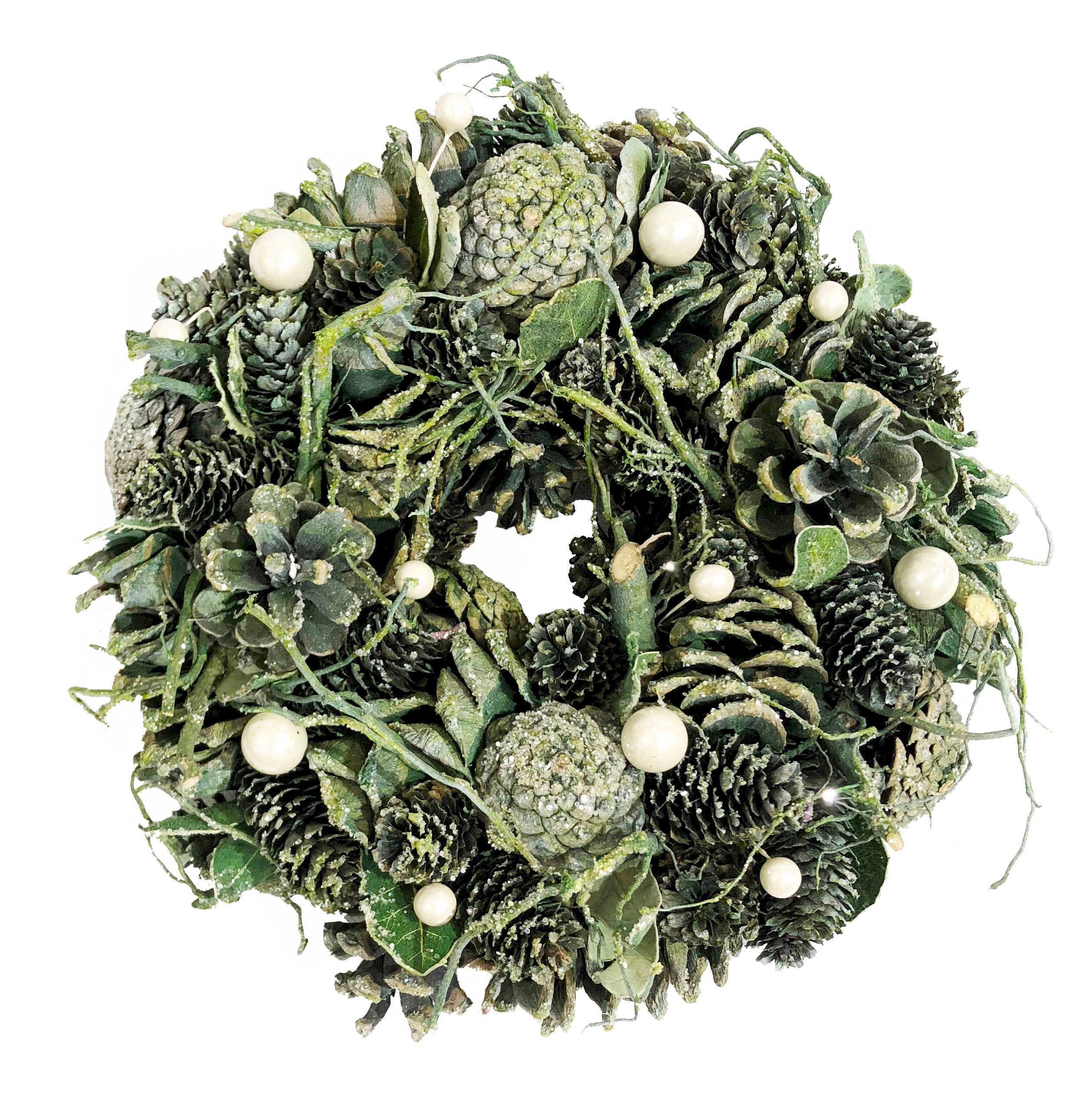 WREATH 26cm GREEN PINECONE/TWIG