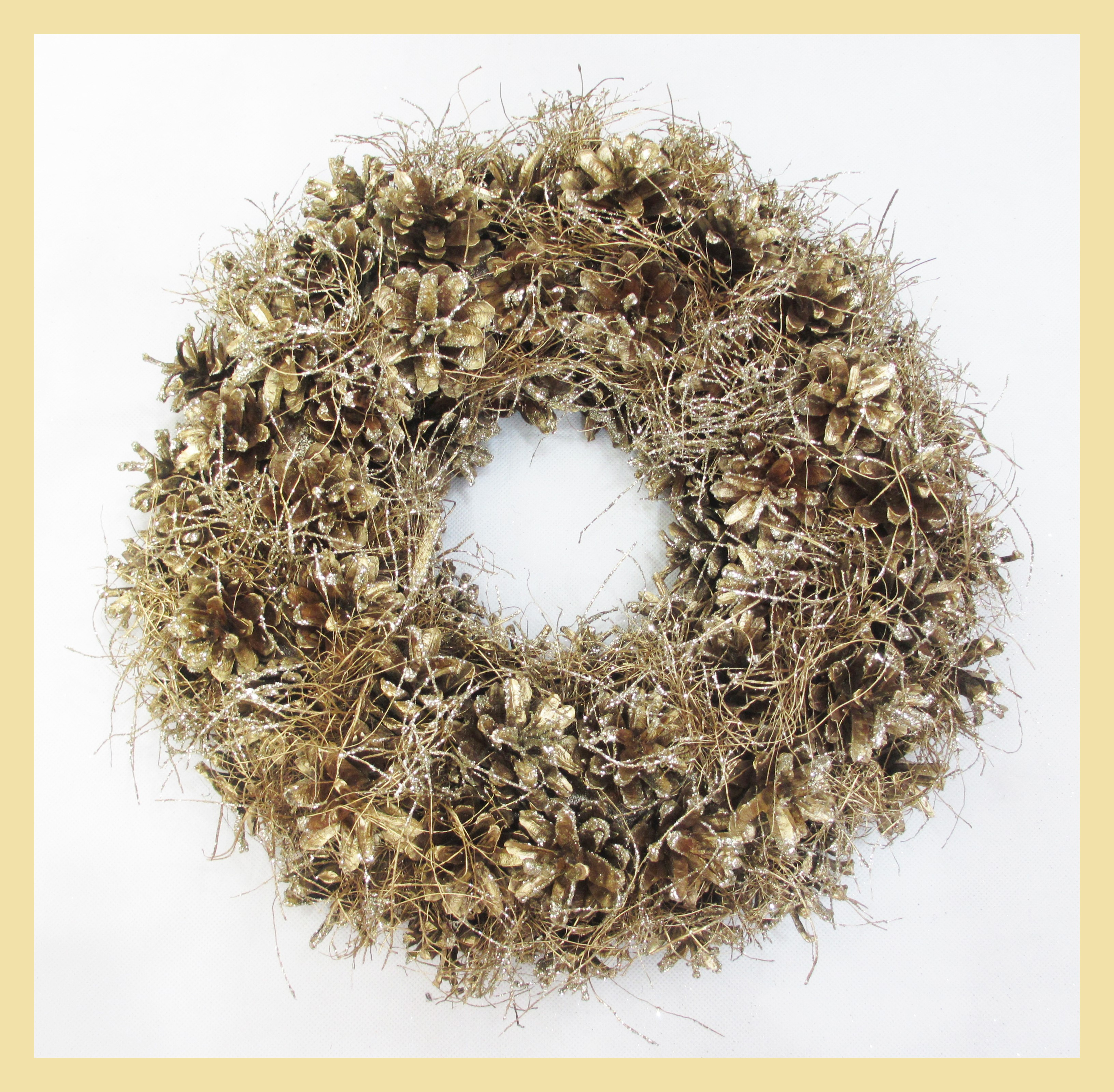 WREATH 32cm CHAMPAGNE GOLD CONE/GRASS
