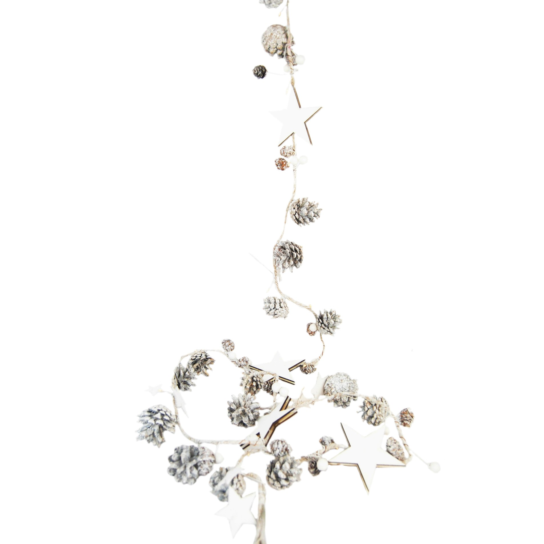 GARLAND 220cm WHITE WOOD STAR/PINECONE/BERRY LED