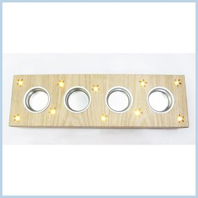 WOODEN 4 BLOCK CANDLE HOLDER w/LED