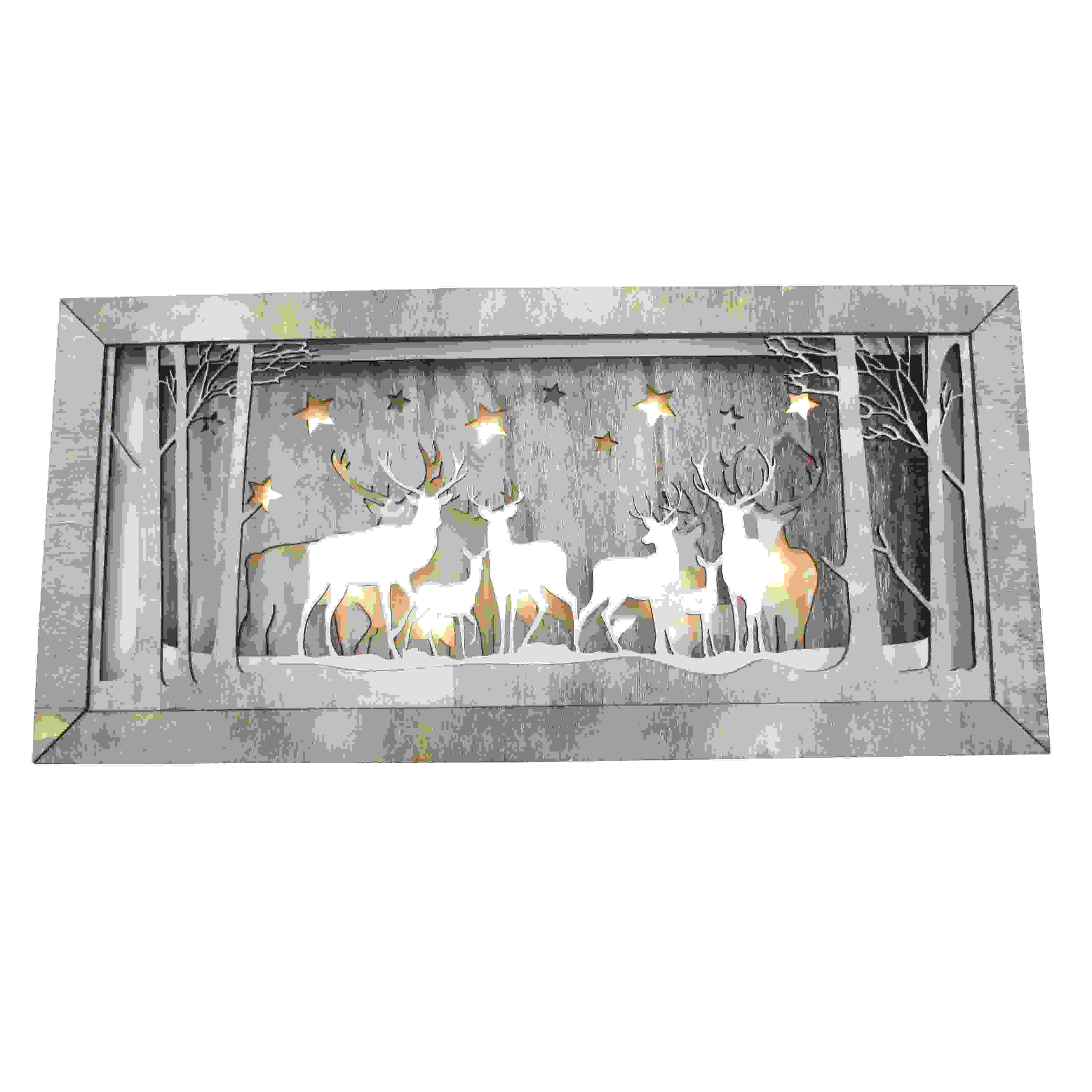 GREY WOOD FESTIVE DEER SCENE LED 37cm