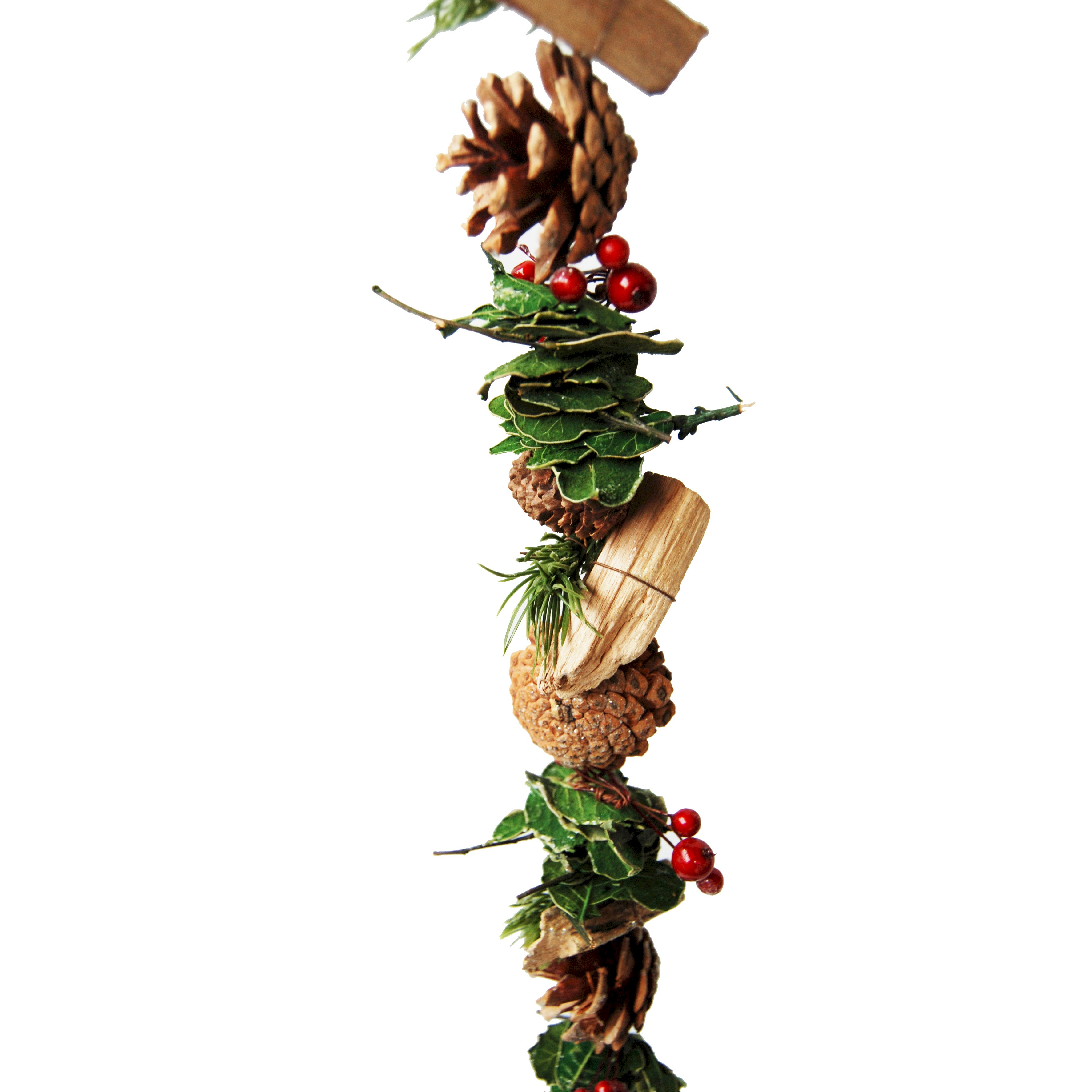 GARLAND MIXED PINECONE/LEAF/RED BERRY 150cm