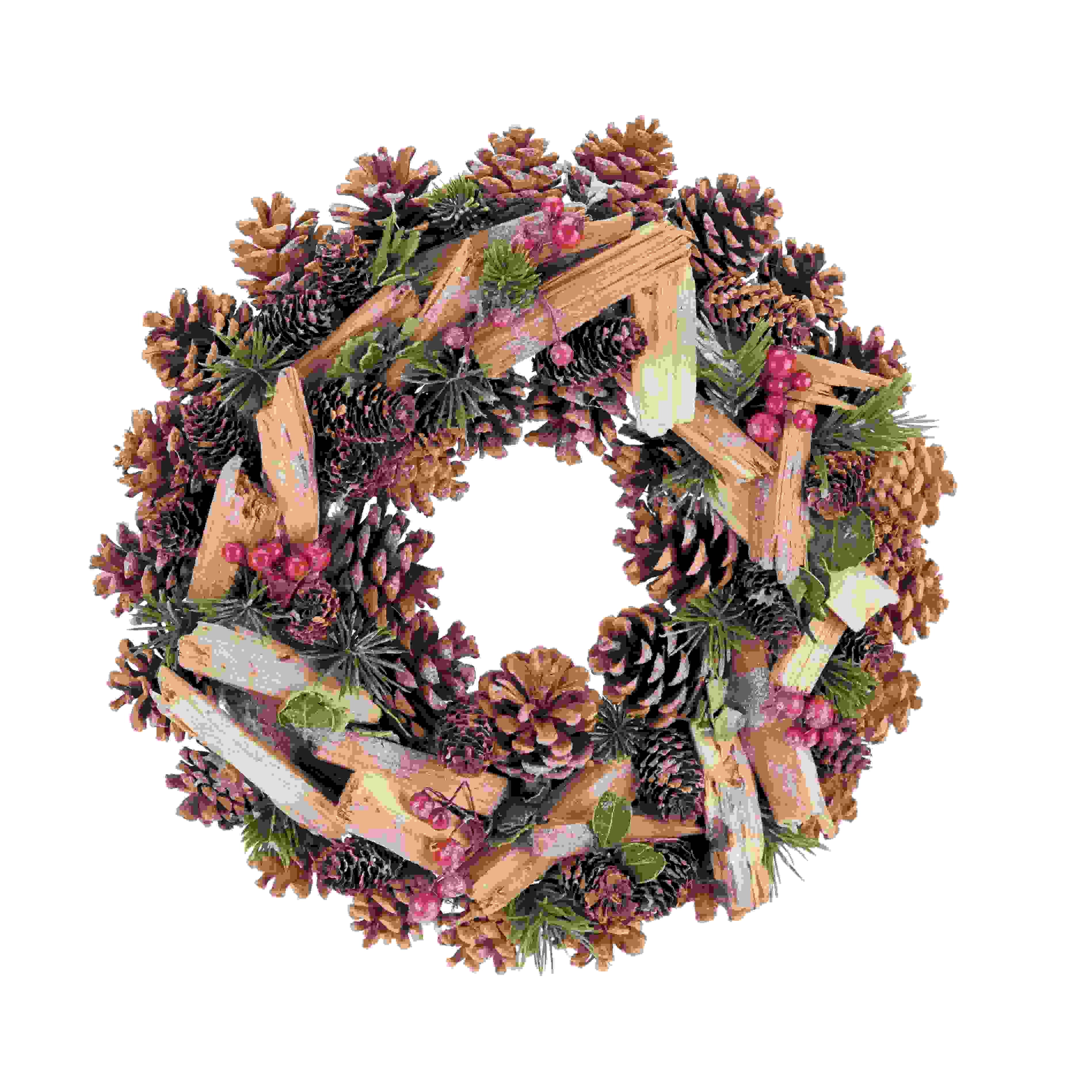 WREATH 35cm MIXED NAT. CONE/BERRY/TWIG/FIR