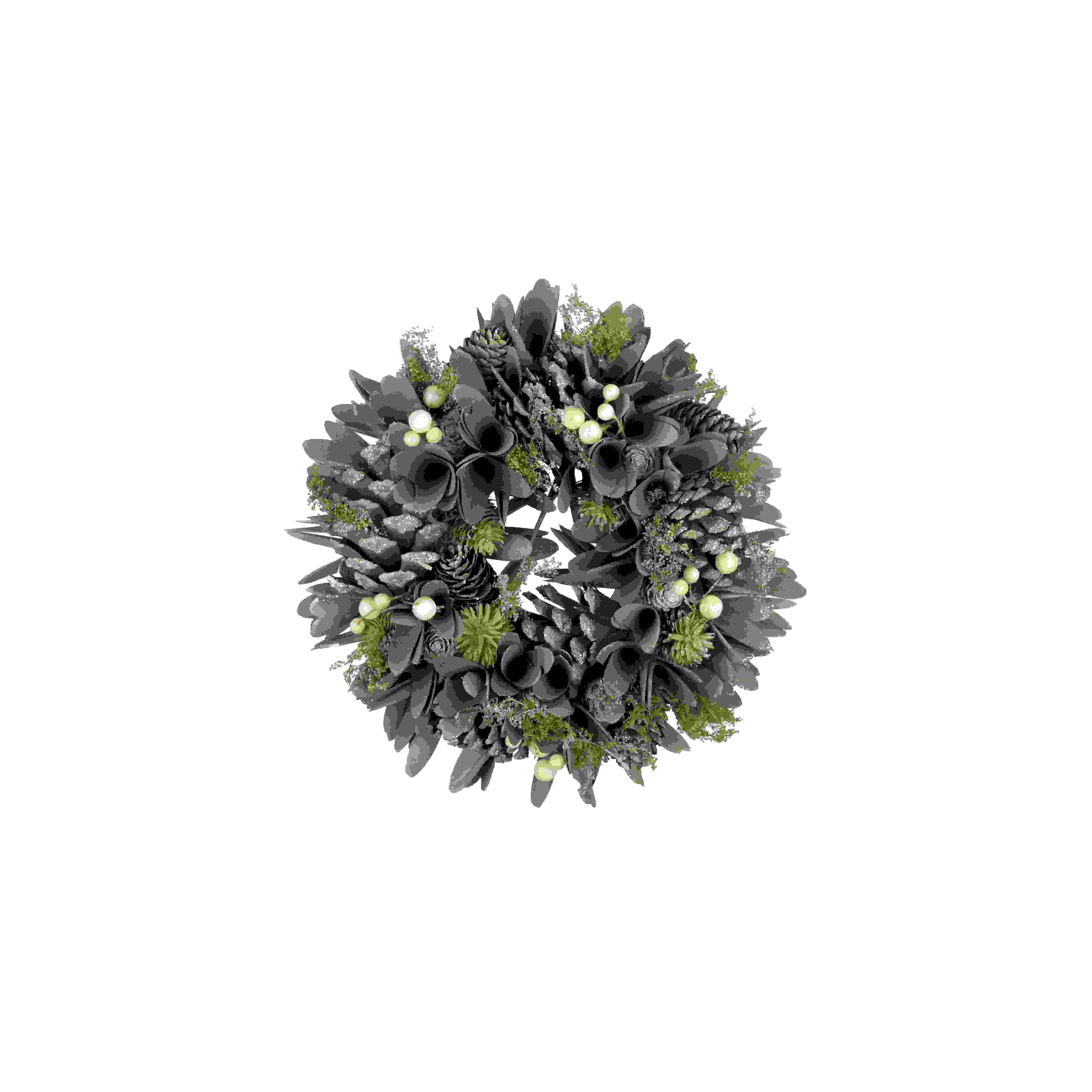 WREATH 27cm MISTLETOE/WOODSHAVE
