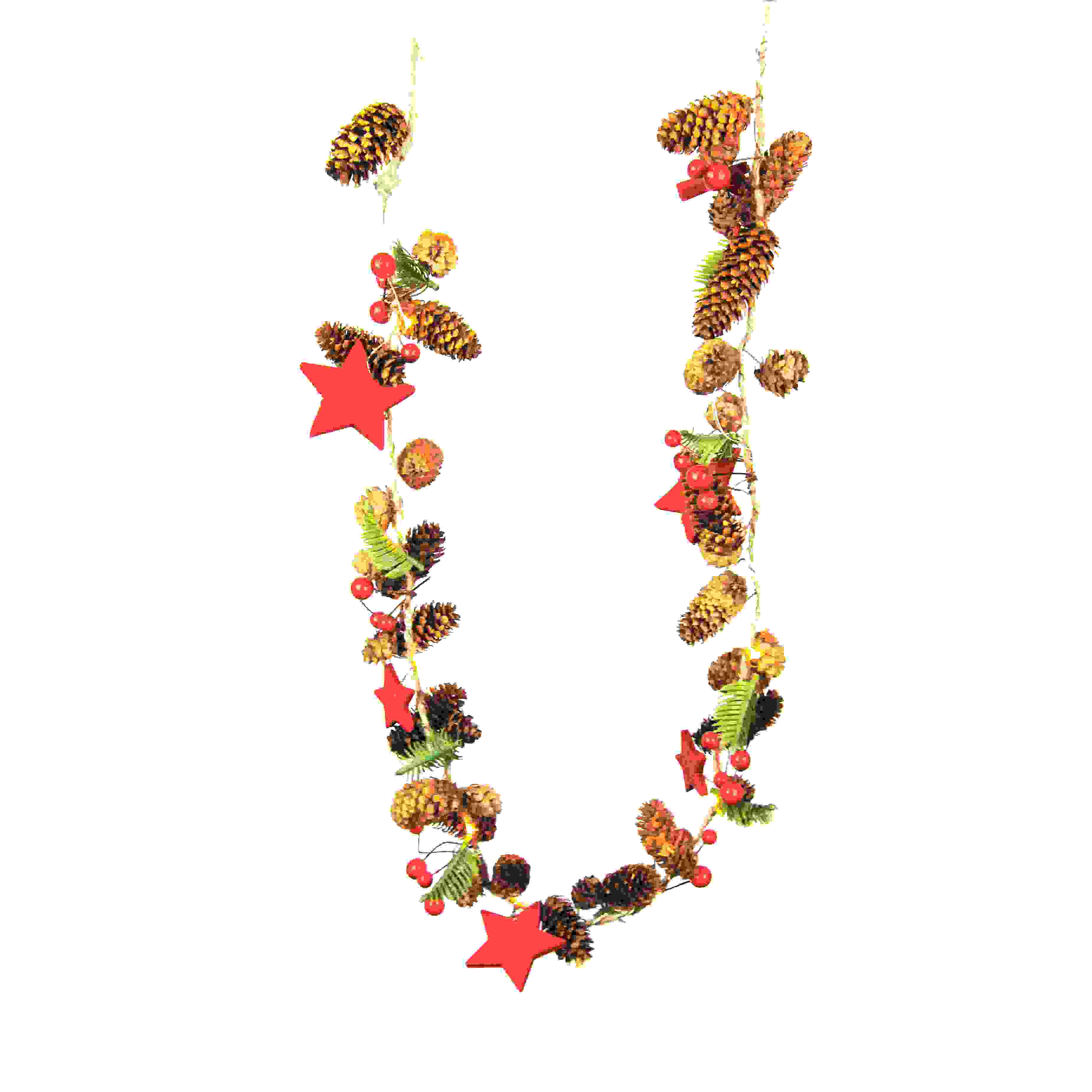 GARLAND 100cm NAT. RED BERRY w/LED