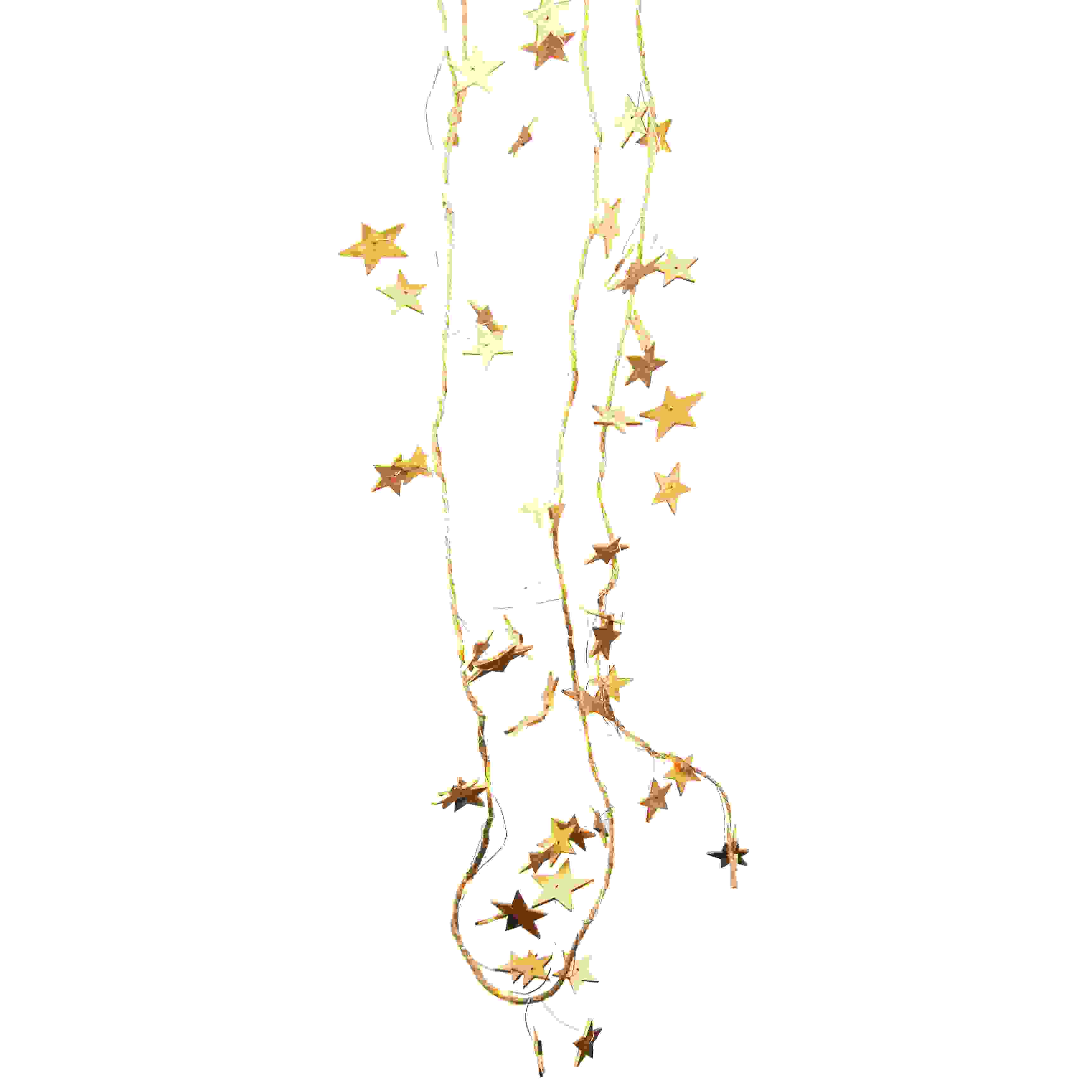 GARLAND GOLD WOOD STAR w/LED