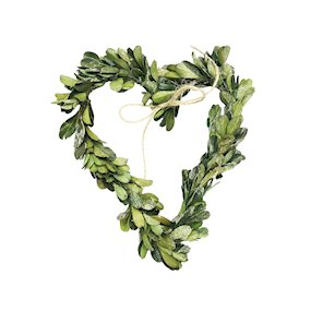 HANGING HEART 18CM MISTLETOE LEAF