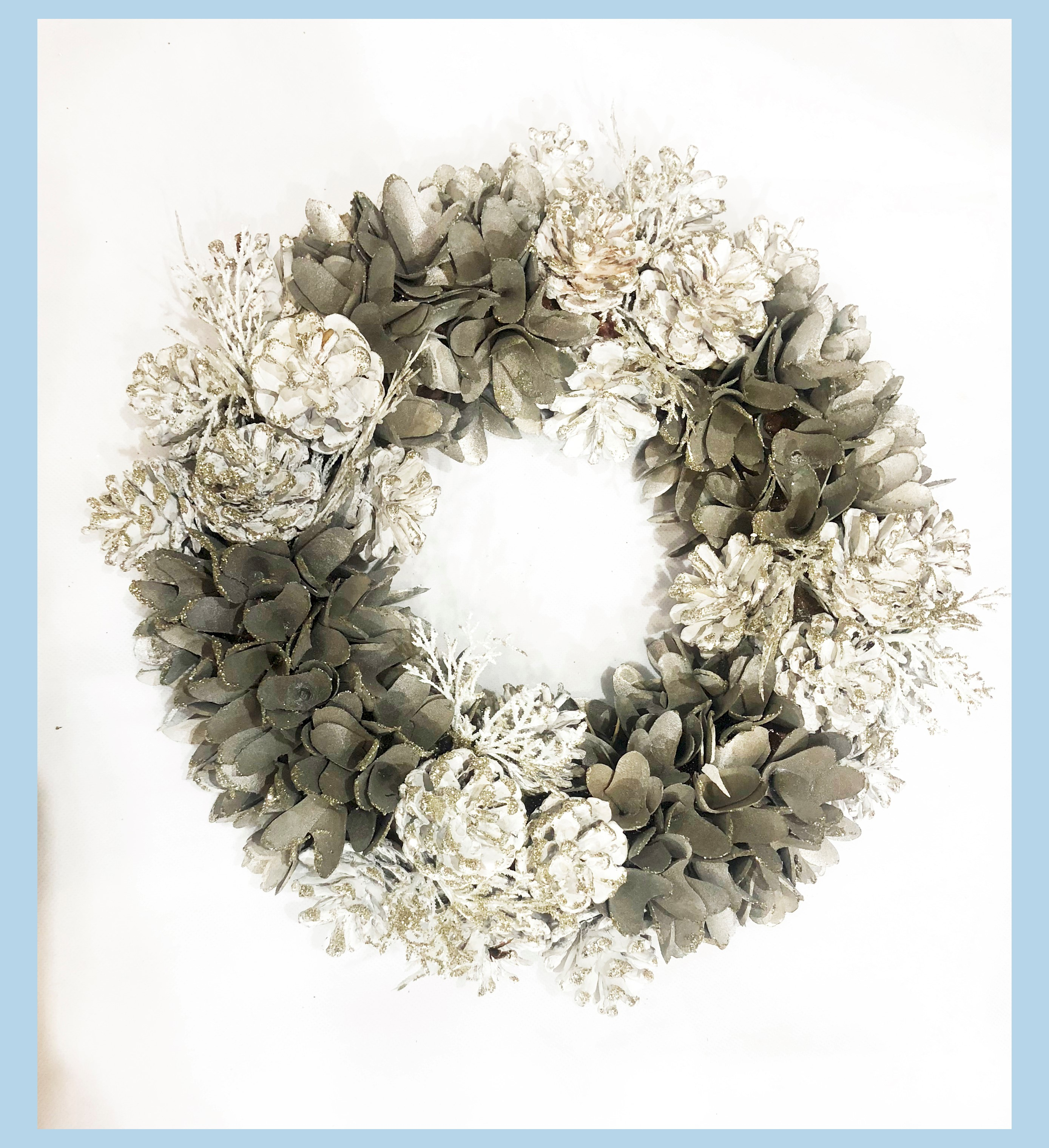 WREATH 34CM GREY/WHITE PINECONE