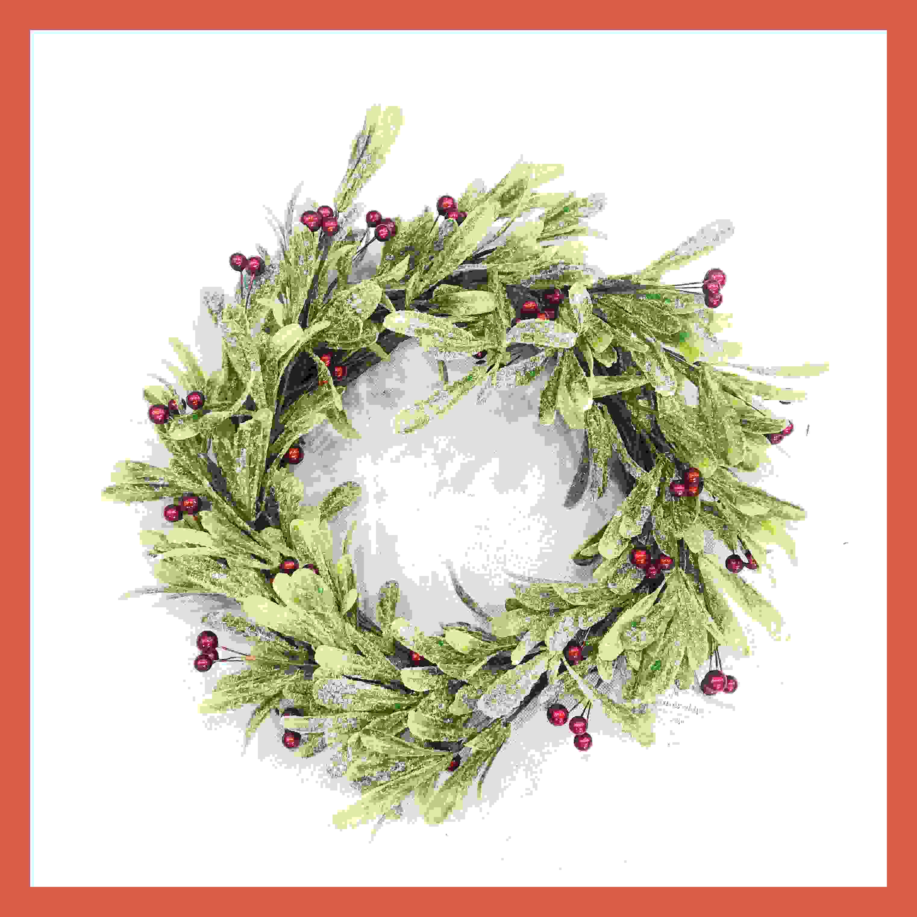WREATH 44CM RED BERRY MISTLETOE