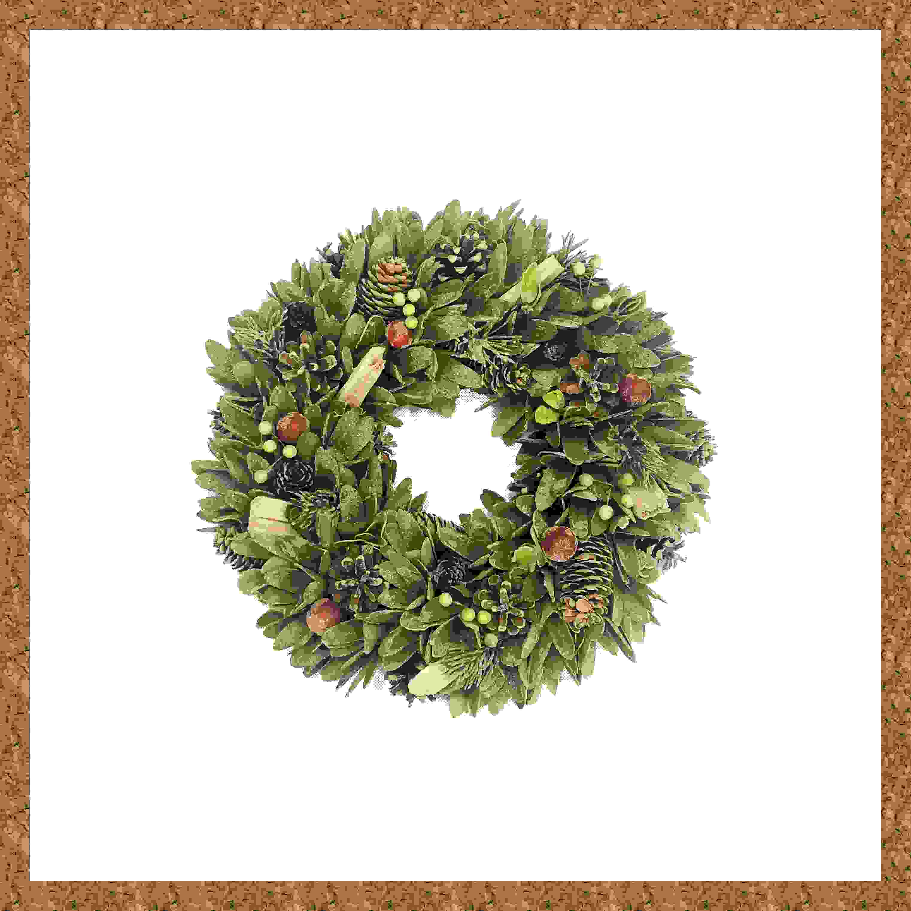 WREATH 36CM RED BERRY/CONE