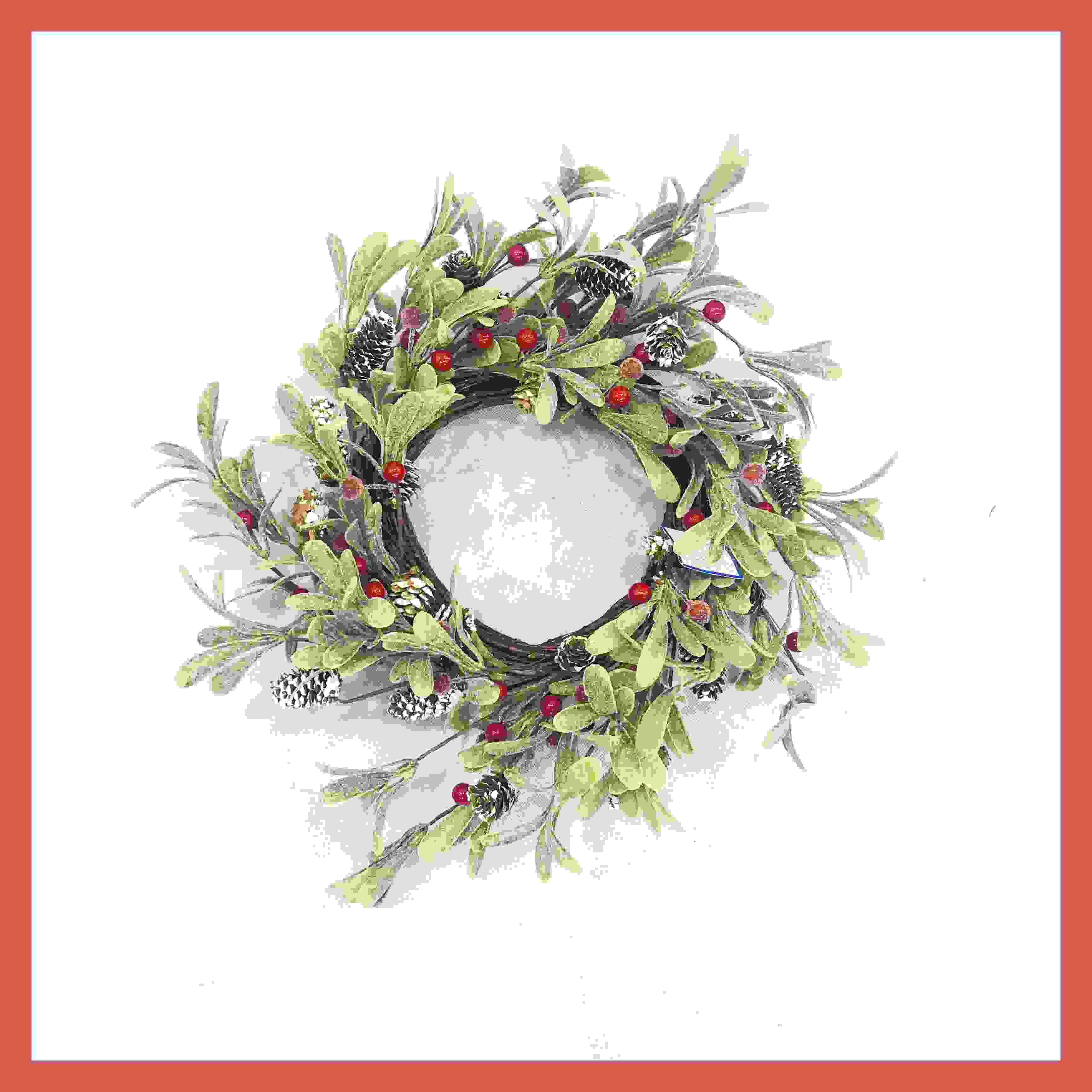 WREATH 40CM RED BERRY/CONE MISTLETOE