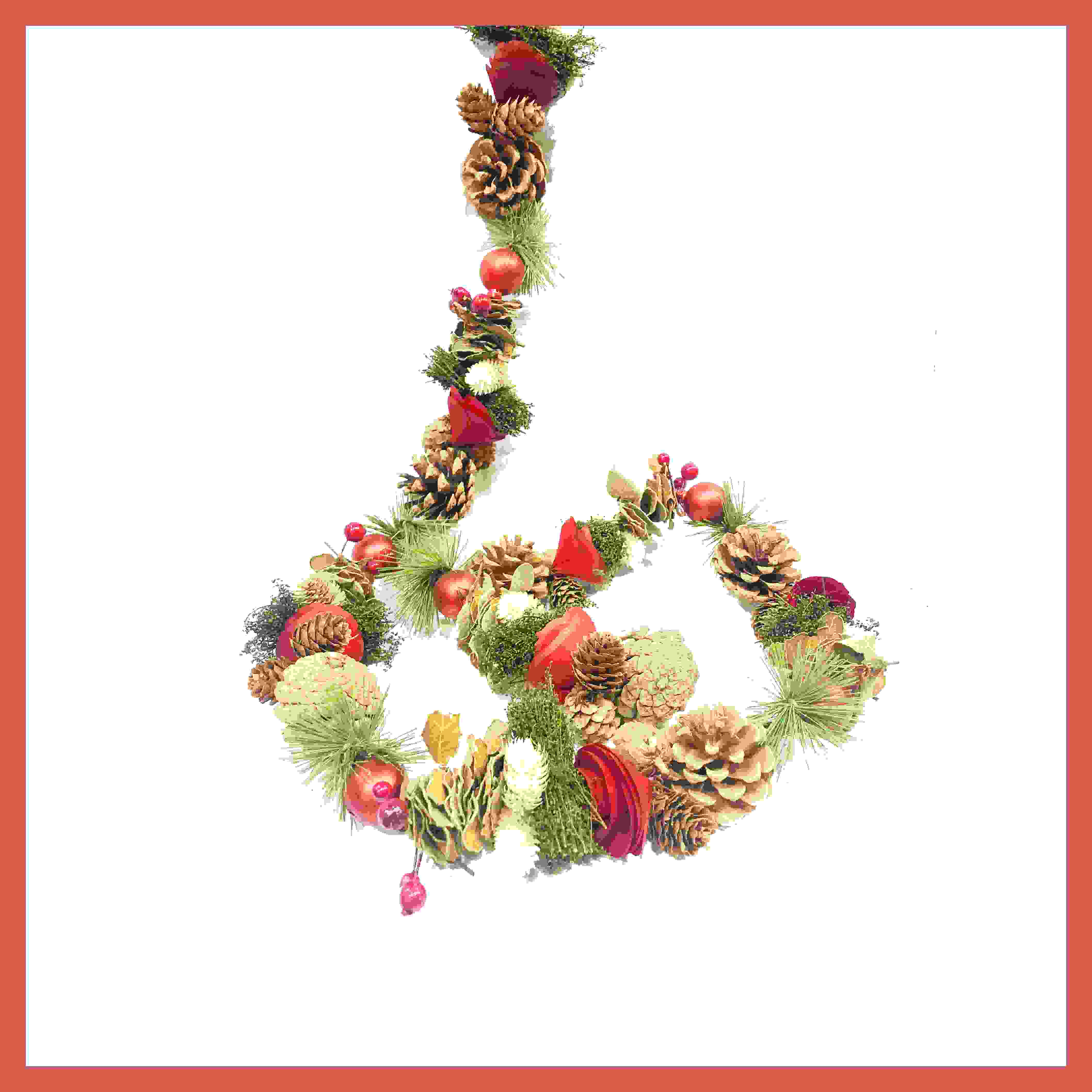 GARLAND 150cm NAT. CONE w/FIR/RED BAUBLES