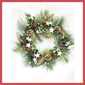 WREATH RED BERRY/FIR/CONE