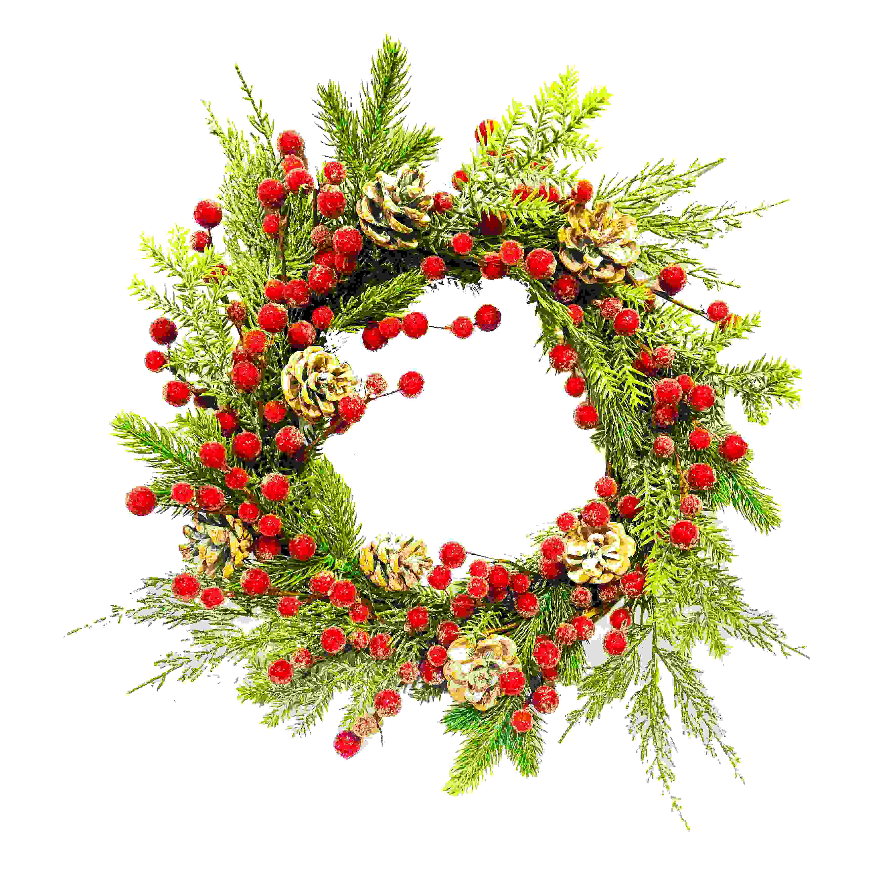 WREATH FROSTED RED BERRY/FIR/CONE
