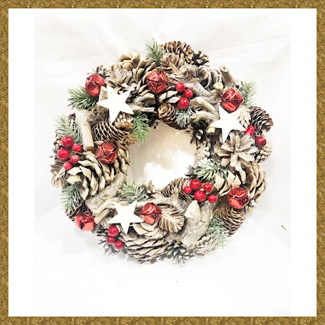WREATH 33CM NAT CONE RED SLEIGH BELL