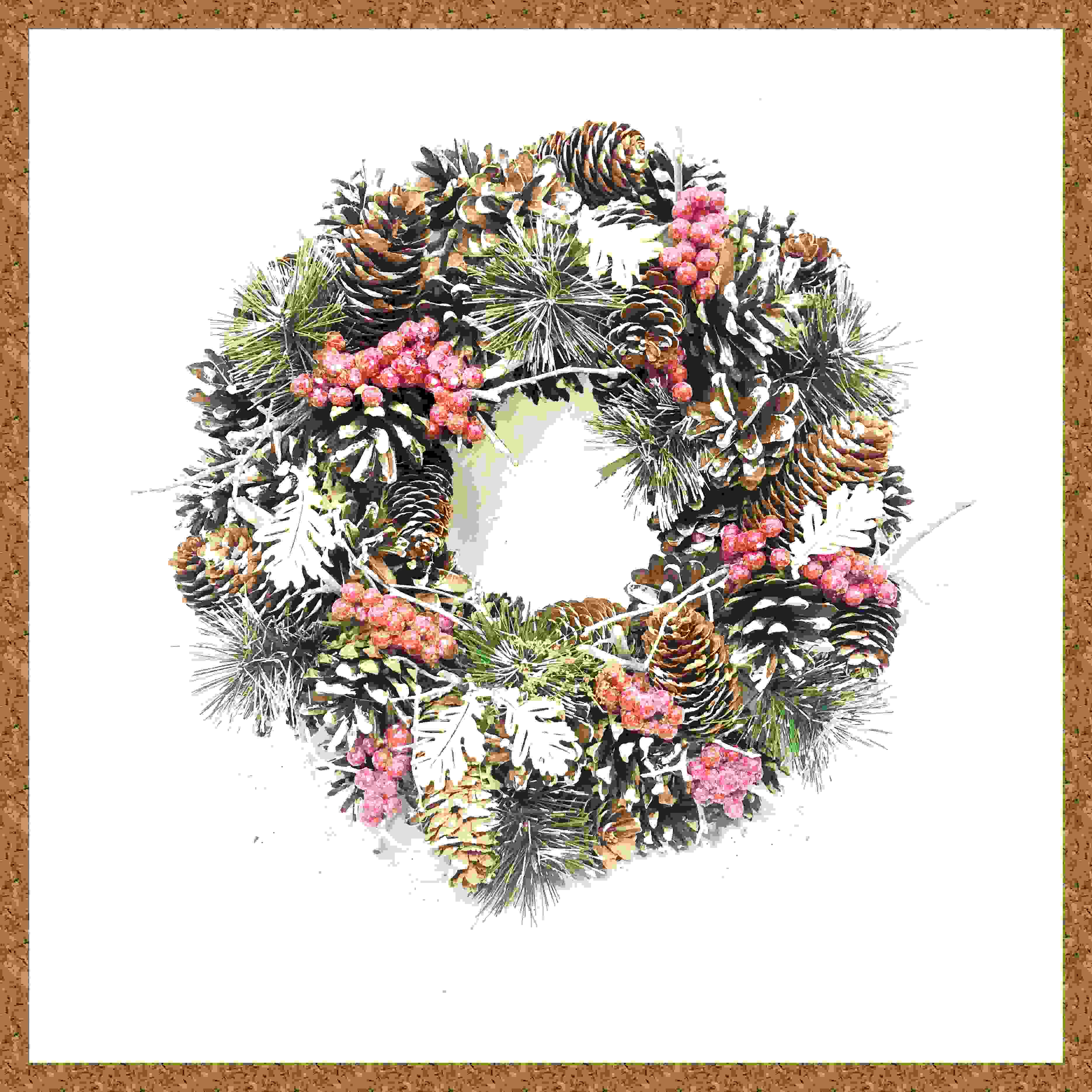 WREATH 32CM FROSTED CONE/RED BERRY CLUSTER