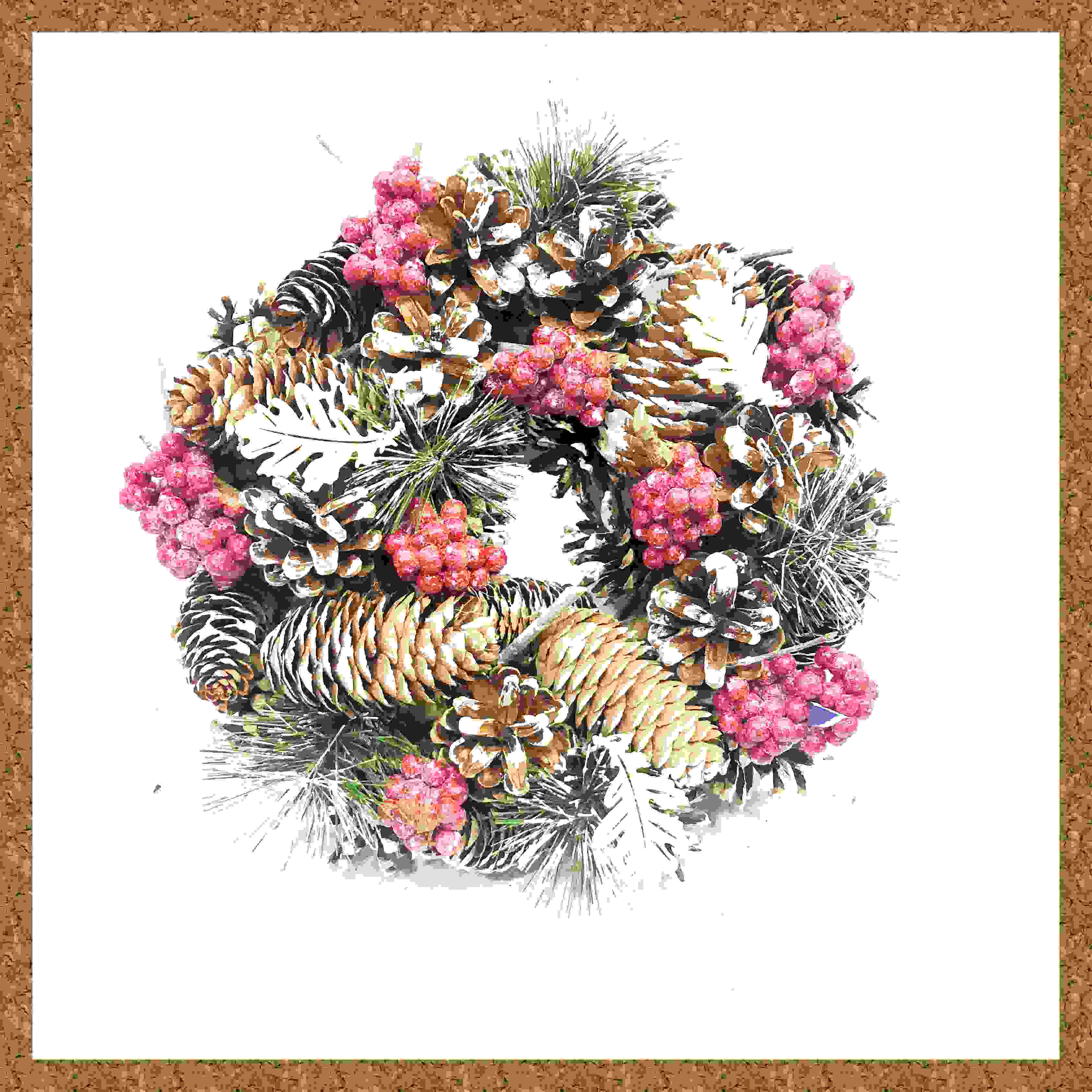 WREATH 24CM FROSTED CONE/RED BERRY CLUSTER