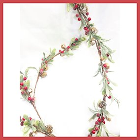 GARLAND RED BERRY/CONE MISTLETOE